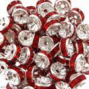 Perle intercalaire - Argentée à strass rouges - 8 x 3,5 mm - Photo n°2