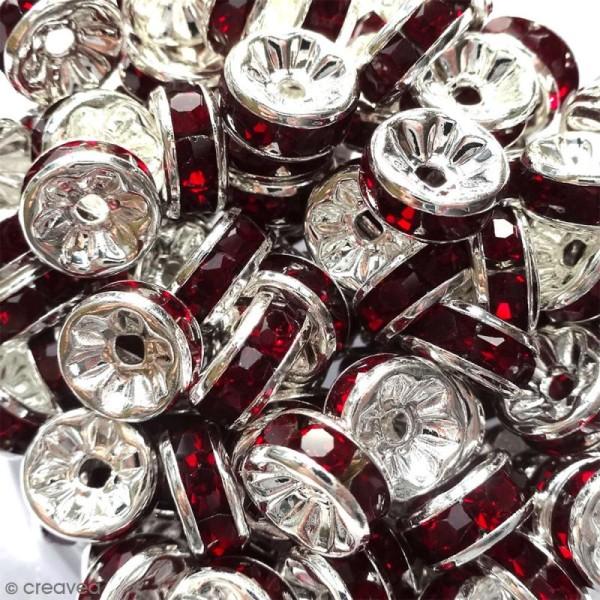 Perle intercalaire - Argentée à strass rouges rubis - 8 x 3,5 mm - Photo n°2
