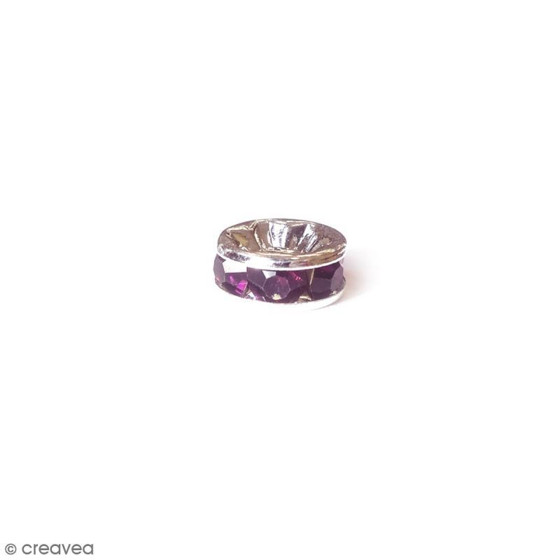 Perle intercalaire - Argentée à strass violet foncé - 8 x 3,5 mm - Photo n°1