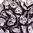 Perle intercalaire - Argentée à strass violet foncé - 8 x 3,5 mm - Photo n°2