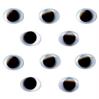 Yeux ovales avec pupilles mobiles en plastique 1,5 cm x 10