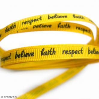 Ruban à messages - Believe, faith, respect - Jaune - 7 mm - Au mètre (sur mesure)