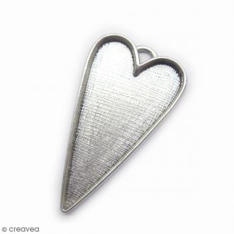 Support pendentif Coeur Coeur - 54 x 28 mm vieilli -