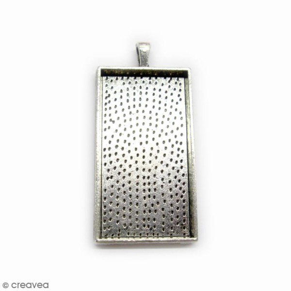 Support pendentif - Rectangle - Argenté - 59 x 27 mm - Photo n°1