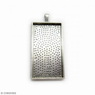 Support pendentif - Rectangle - Argenté - 59 x 27 mm