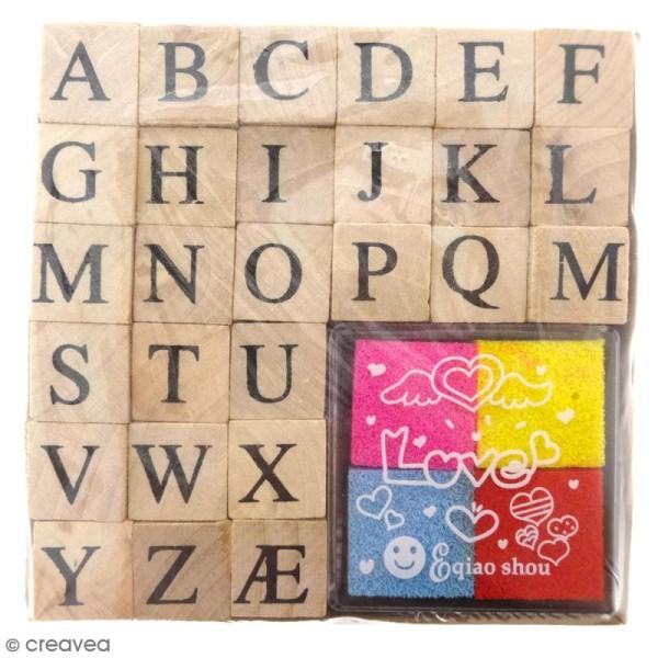 Set Tampons alphabet et mini encreurs - 28 pcs - Photo n°1