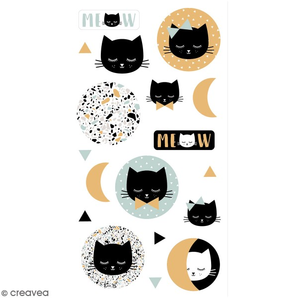 Stickers puffies Terrazzo cat - 18 autocollants - Photo n°1