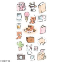 Stickers puffies So cute - Vacances - 20 autocollants