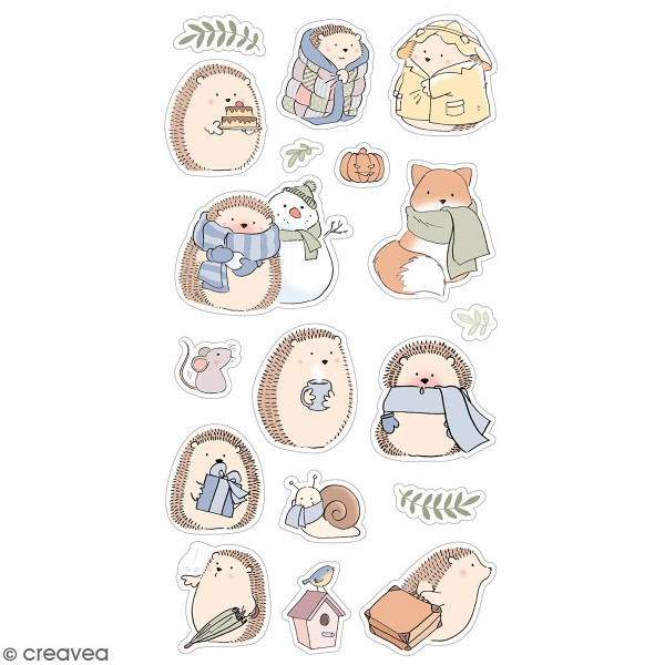Stickers puffies Amstramgram - Automne & hiver - 18 autocollants - Photo n°1