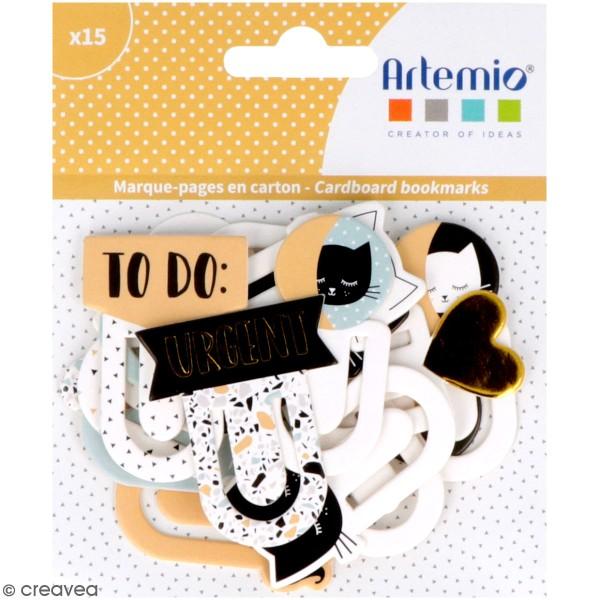 Marque-pages en carton Artemio - Terrazzo cat - 15 pcs - Photo n°1