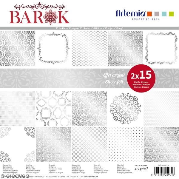 Papier Scrapbooking Artemio - Barok Foil argenté- 30,5 x 30,5 cm - 30 pcs - Photo n°1