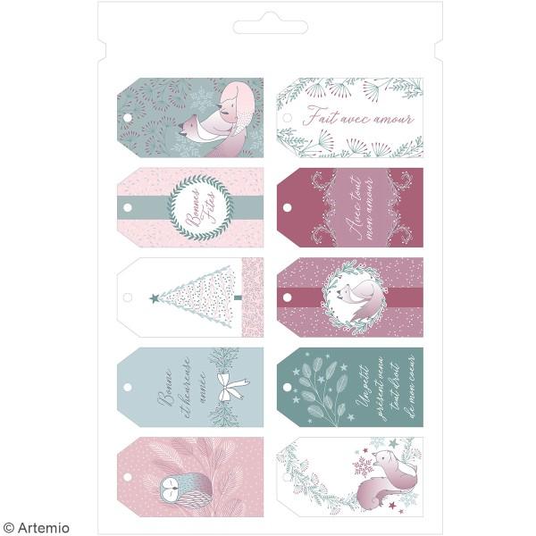 Kit enveloppes, étiquettes et autocollants cadeaux Artemio - Collection Isatis - 97 pcs - Photo n°5