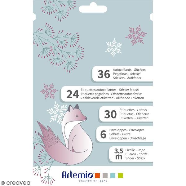 Kit enveloppes, étiquettes et autocollants cadeaux Artemio - Collection Isatis - 97 pcs - Photo n°1