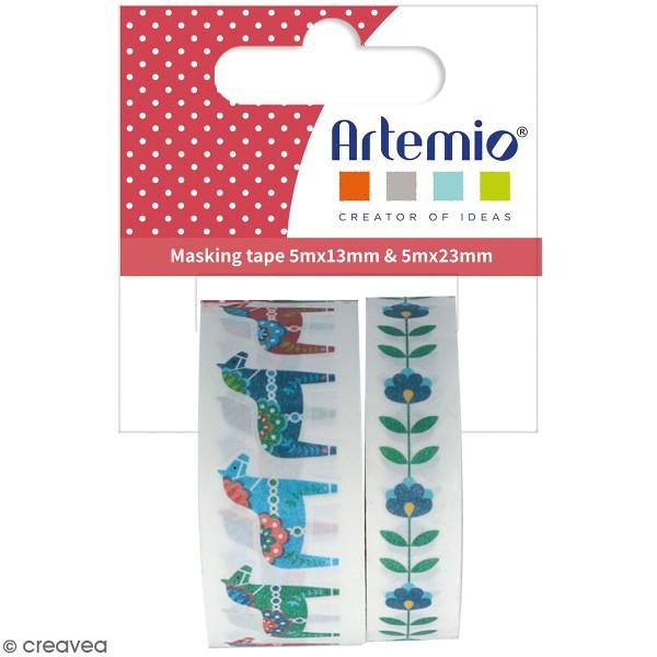 Masking tape découpé Artemio - Folk - 13/23 mm x 5 m - 2 pcs - Photo n°1