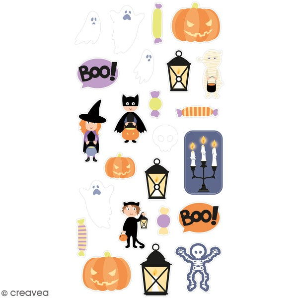 Stickers puffies Halloween - Déguisements - 24 autocollants - Photo n°1