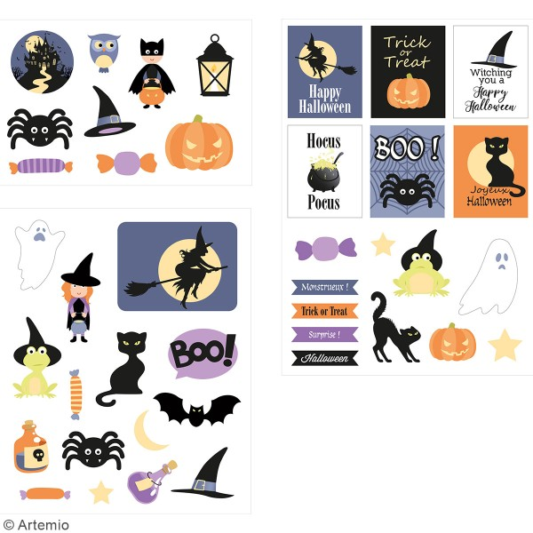 Stickers fantaisie cartonnés - Halloween - 41 pcs - Photo n°2