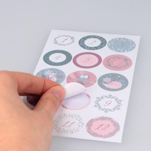 Stickers ronds calendrier de l'avent - Isatis - 30 pcs - Photo n°3