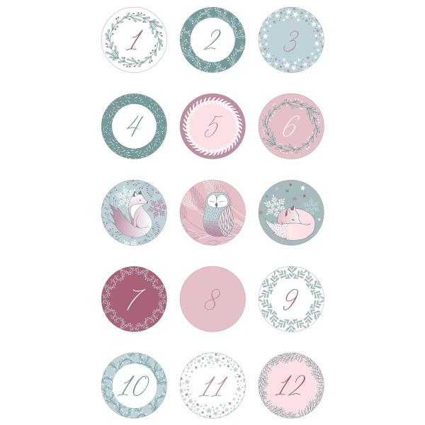 Stickers ronds calendrier de l'avent - Isatis - 30 pcs - Photo n°4