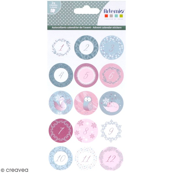 Stickers ronds calendrier de l'avent - Isatis - 30 pcs - Photo n°1