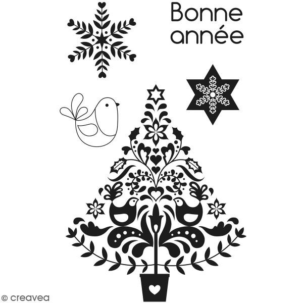 Tampons Clear Artemio Folk - Bonne année - 5 pcs - Photo n°1