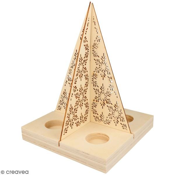 Bougeoir Sapin ajouré en bois - 4 bougies - 19 x 19 x 25 cm - Photo n°1