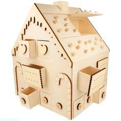 Calendrier de l'avent en bois - Maison en pain d'épice - 26,5 x 23,5 x 33 cm