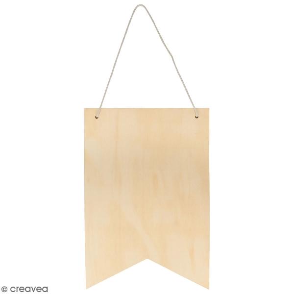 Fanion en bois à décorer et à suspendre - 24 x 35 cm - Photo n°1