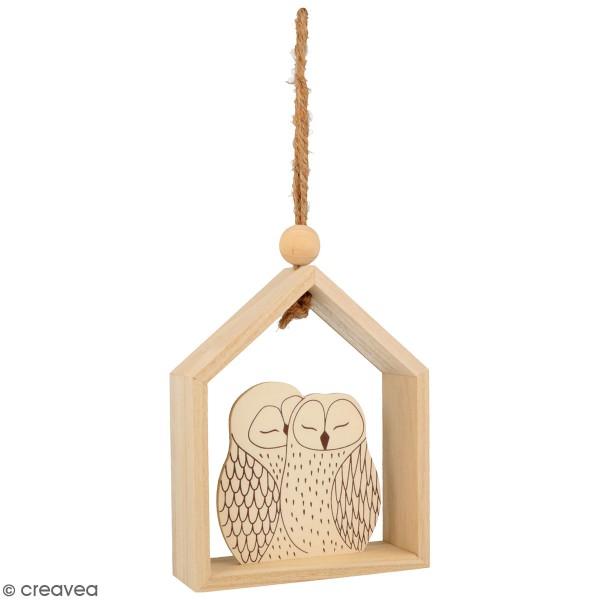 Petite maison en bois à suspendre - Isatis - Chouettes - 12 x 4 x 15 cm - Photo n°1