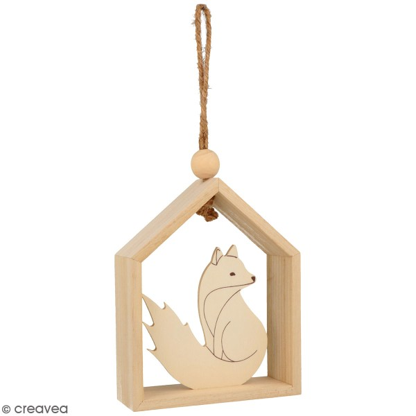 Petite maison en bois à suspendre - Isatis - Renard - 12 x 4 x 15 cm - Photo n°1