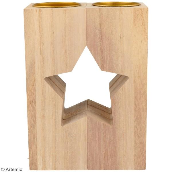 Bougeoirs en bois à décorer - Étoile - 11 x 15 cm - 2pcs - Photo n°2