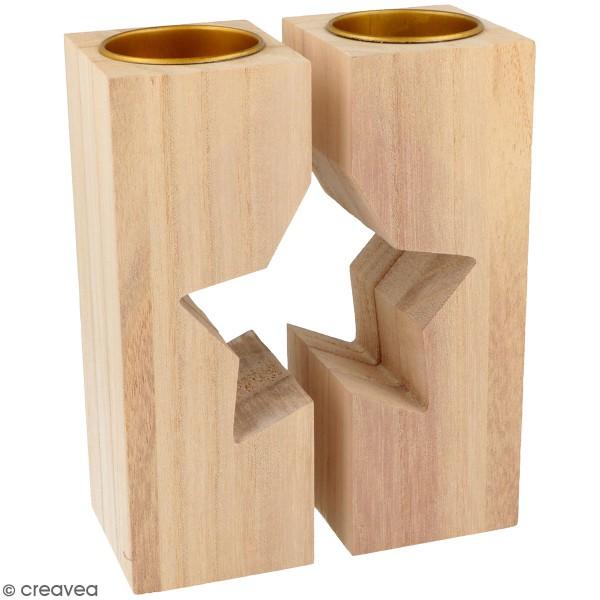 Bougeoirs en bois à décorer - Étoile - 11 x 15 cm - 2pcs - Photo n°1