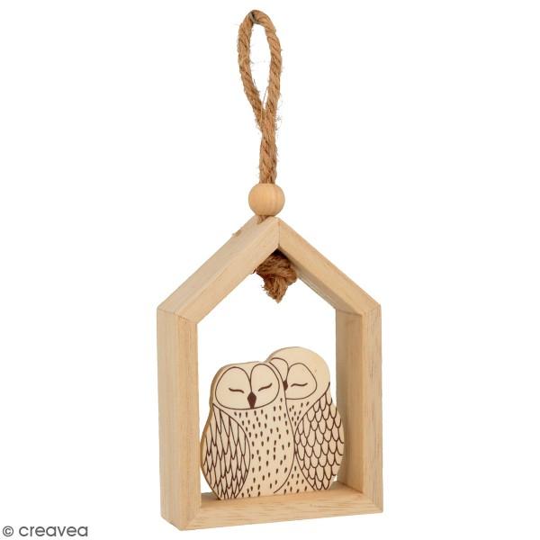 Set de 3 petites maisons en bois à suspendre - Isatis - 7 x 10 cm - Photo n°2