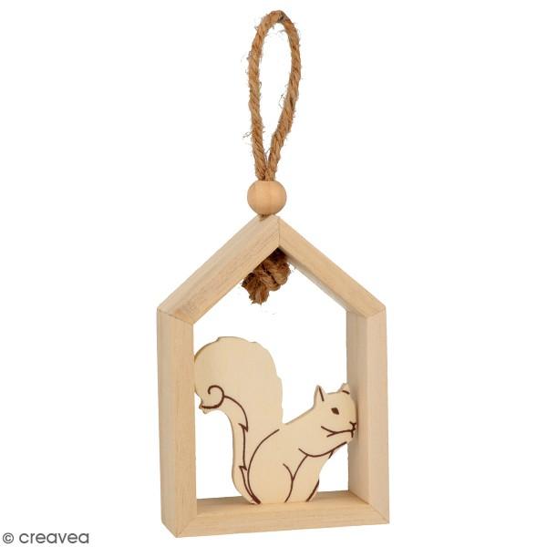 Set de 3 petites maisons en bois à suspendre - Isatis - 7 x 10 cm - Photo n°3