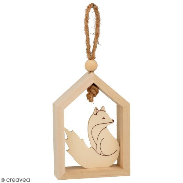 Set de 3 petites maisons en bois à suspendre - Isatis - 7 x 10 cm - Photo n°4