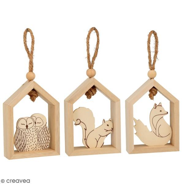 Set de 3 petites maisons en bois à suspendre - Isatis - 7 x 10 cm - Photo n°1