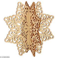 Silhouette flocon 3D en bois à monter et à décorer - Barok - 12 x 12 cm