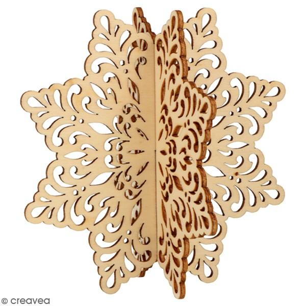 Silhouette flocon 3D en bois à monter et à décorer - Barok - 12 x 12 cm - Photo n°1