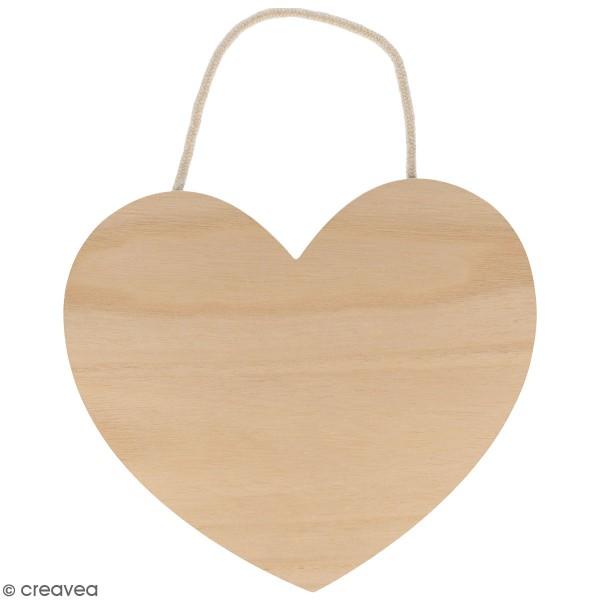 Coeur en bois à décorer et à suspendre - 25 x 22 cm - Photo n°1