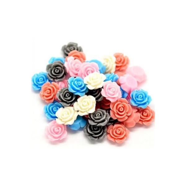 10 Cabochons Fleurs Camée Mixte rose Résine - Photo n°1