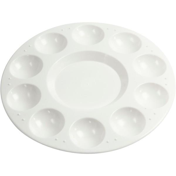 Palette ronde en plastique - 17 cm - 11 compartiments - Photo n°1
