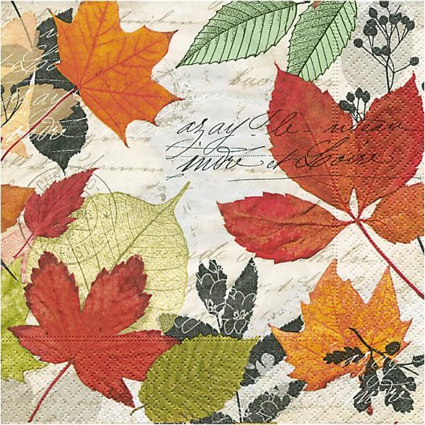 Serviettes en papier - Feuilles d'automne - 33 x 33 cm - 20 pcs - Photo n°1