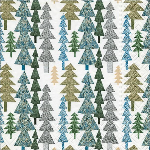 Serviettes en papier - Sapins - 33 x 33 cm - 20 pcs - Photo n°1