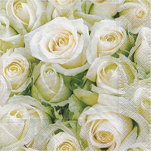 Serviettes en papier - Roses blanches - 33 x 33 cm - 20 pcs - Photo n°1