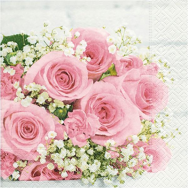 Serviettes en papier - Fleur rose - 33 x 33 cm - 20 pcs - Photo n°1