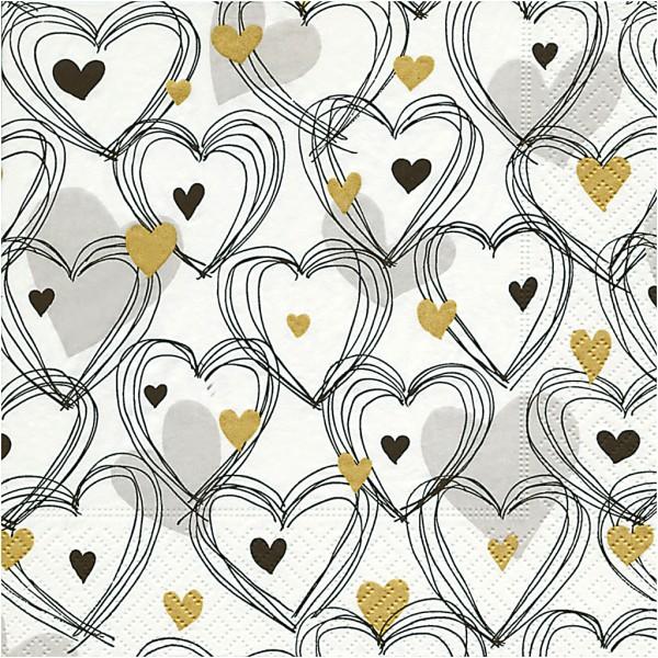 Serviettes en papier - Coeurs dessinés - 33 x 33 cm - 20 pcs - Photo n°1
