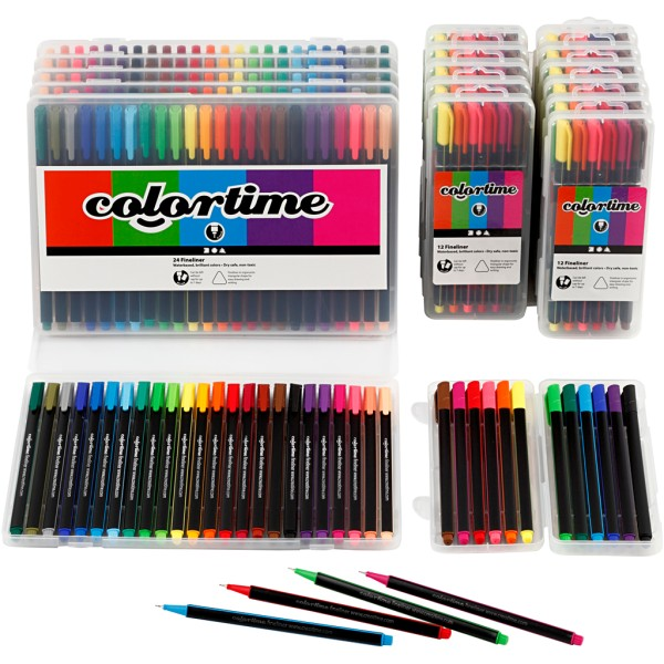 Feutres Colortime Fineliner, trait: 0,6-0,7 mm, 18 Pqs., Couleurs assorties - Photo n°1