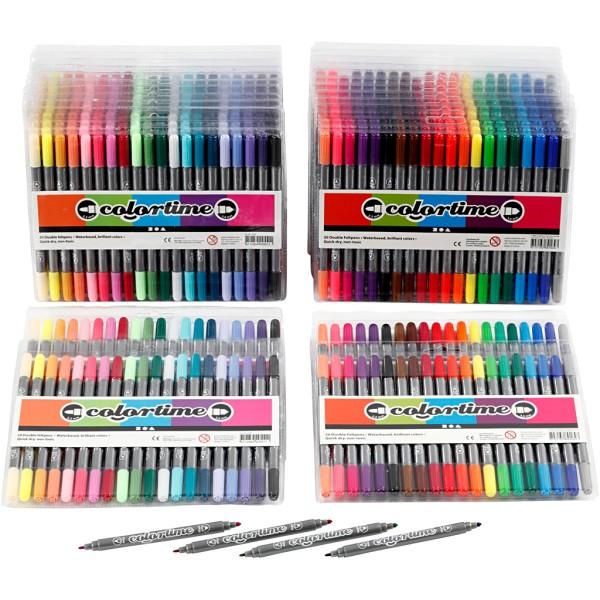 Feutres Colortime double pointe, trait: 2,3+3,6 mm, 24x20 pièces, couleurs classiques, couleur extra - Photo n°1