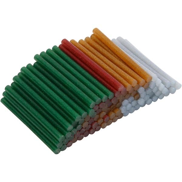 Recharges de colle à paillettes pour pistolet à colle - 7 cm - Assortiment de couleurs - 100 pcs - Photo n°1