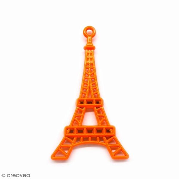 tour eiffel orange en m tal 4 4 cm breloque voyage. Black Bedroom Furniture Sets. Home Design Ideas