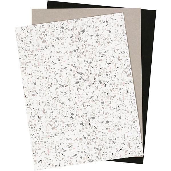 Assortiment papier simili cuir 21 cm - Noir, gris, terrazzo - 3 pcs - Photo n°1